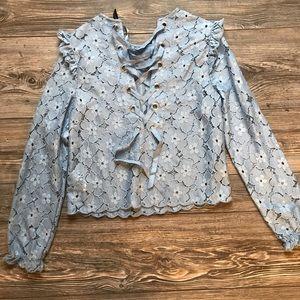 H&M blue lace up bow back detail blouse